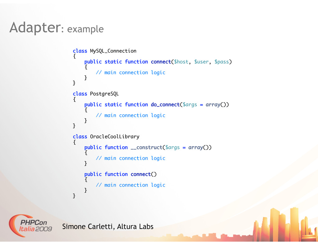 Adapter: example Simone Carletti, Altura Labs c...
