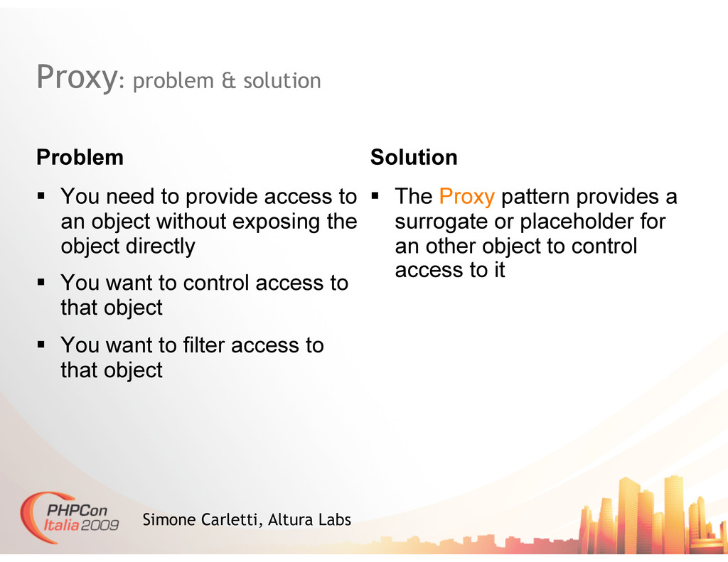 Proxy: problem & solution Problem   You need t...