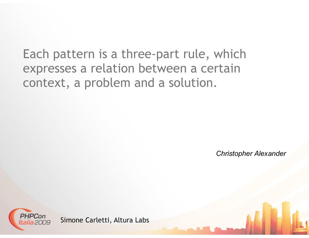 Christopher Alexander Simone Carletti, Altura L...