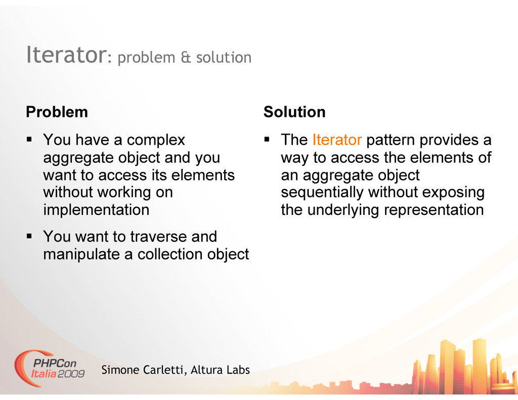 Iterator: problem & solution Problem Solution S...