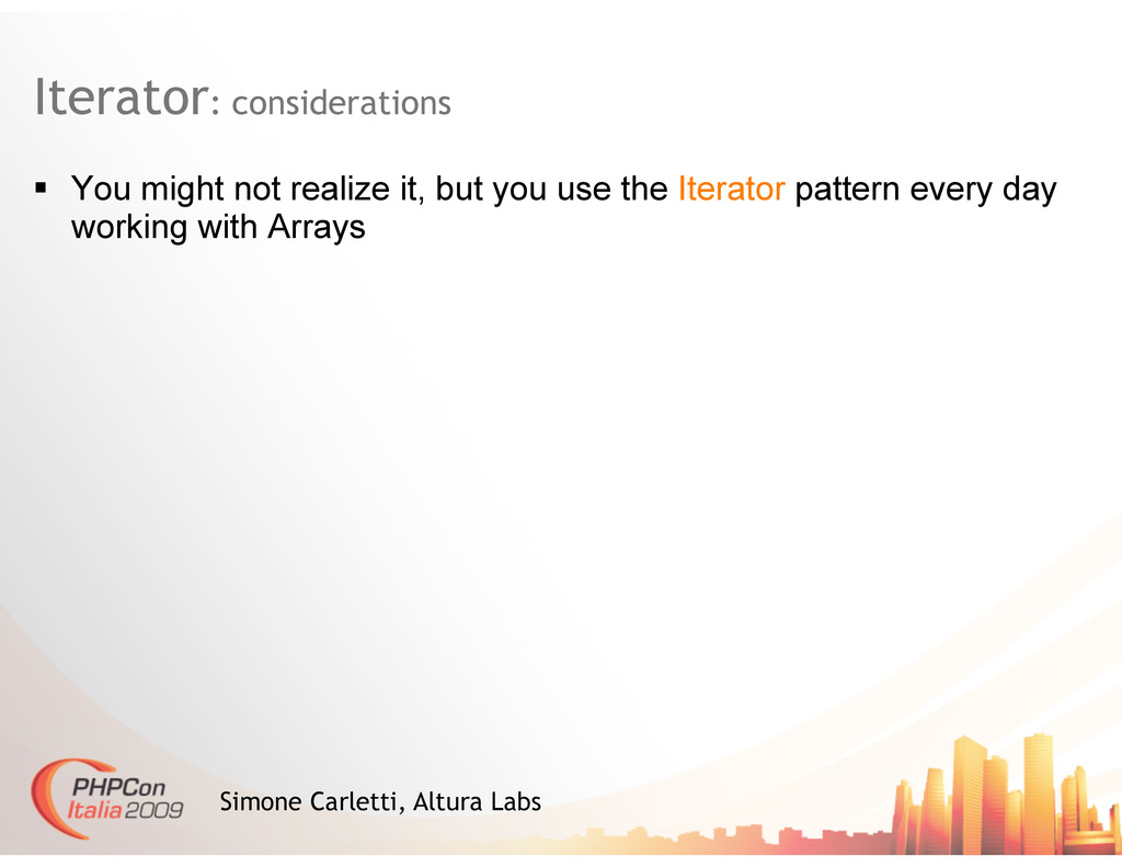 Iterator: considerations Simone Carletti, Altur...