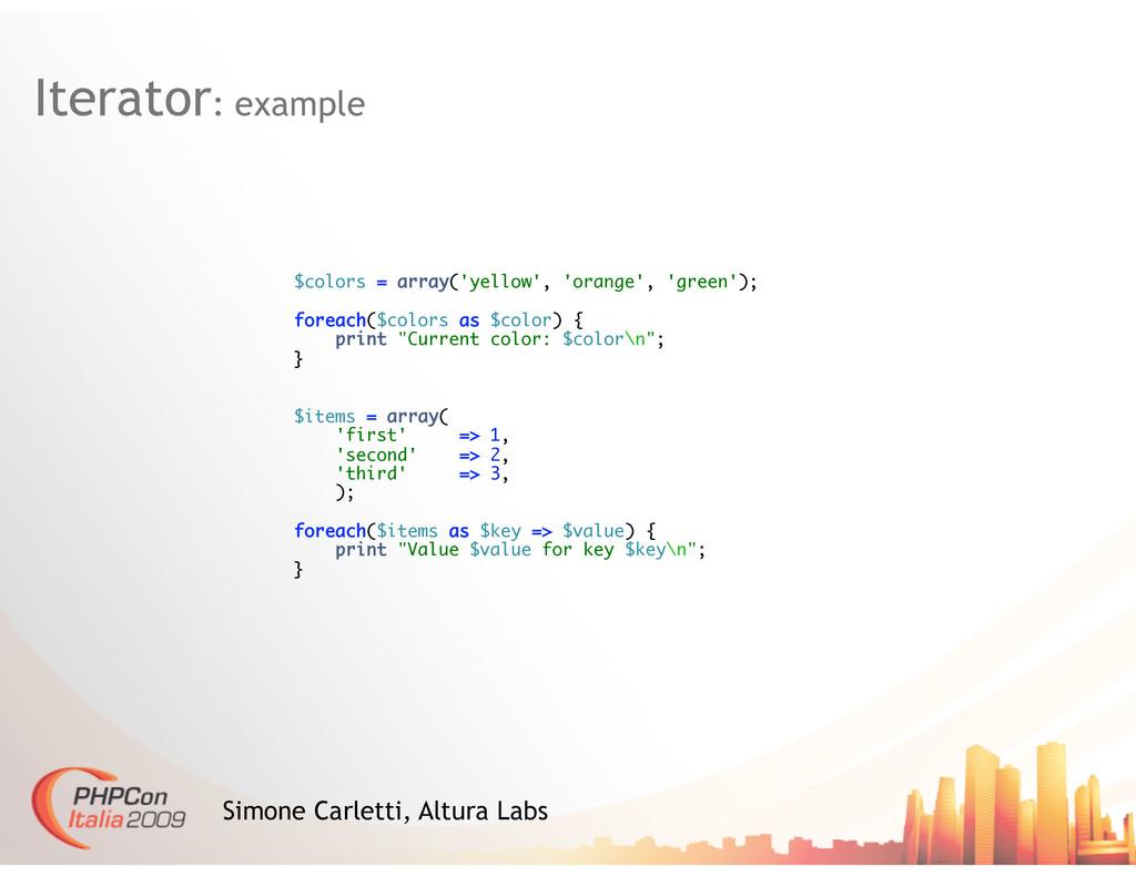 Iterator: example Simone Carletti, Altura Labs ...