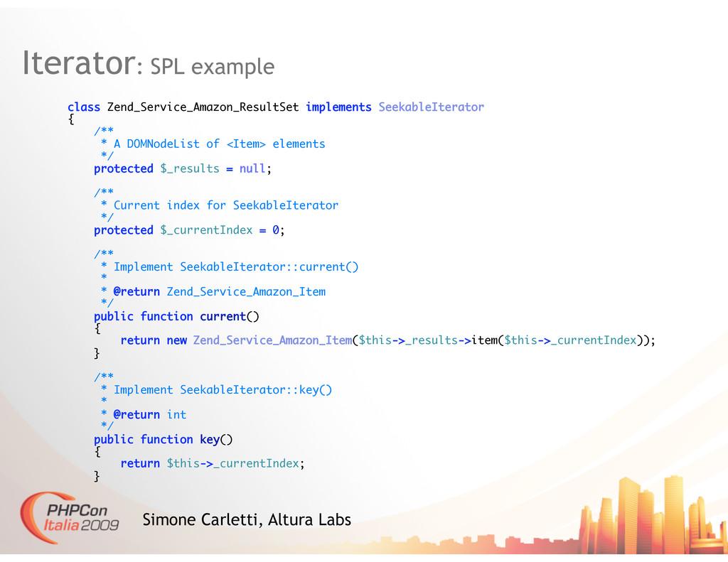 Iterator: SPL example Simone Carletti, Altura L...