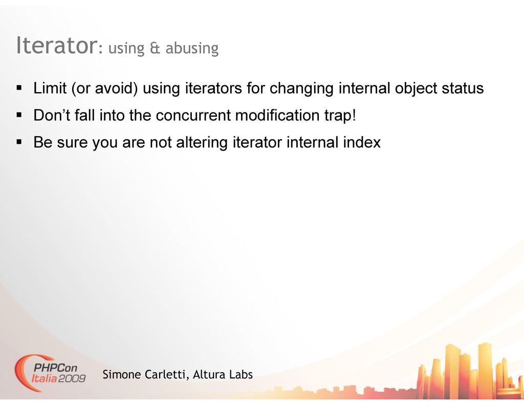 Iterator: using & abusing Simone Carletti, Altu...