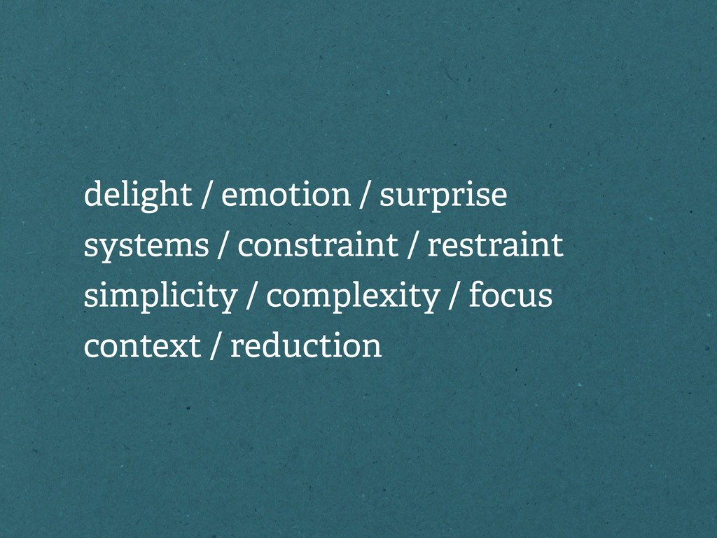 delight / emotion / surprise systems / constrai...