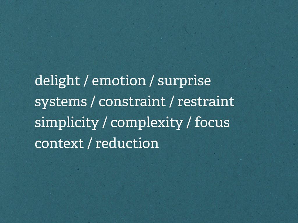 delight / emotion / surprise systems / constrai...