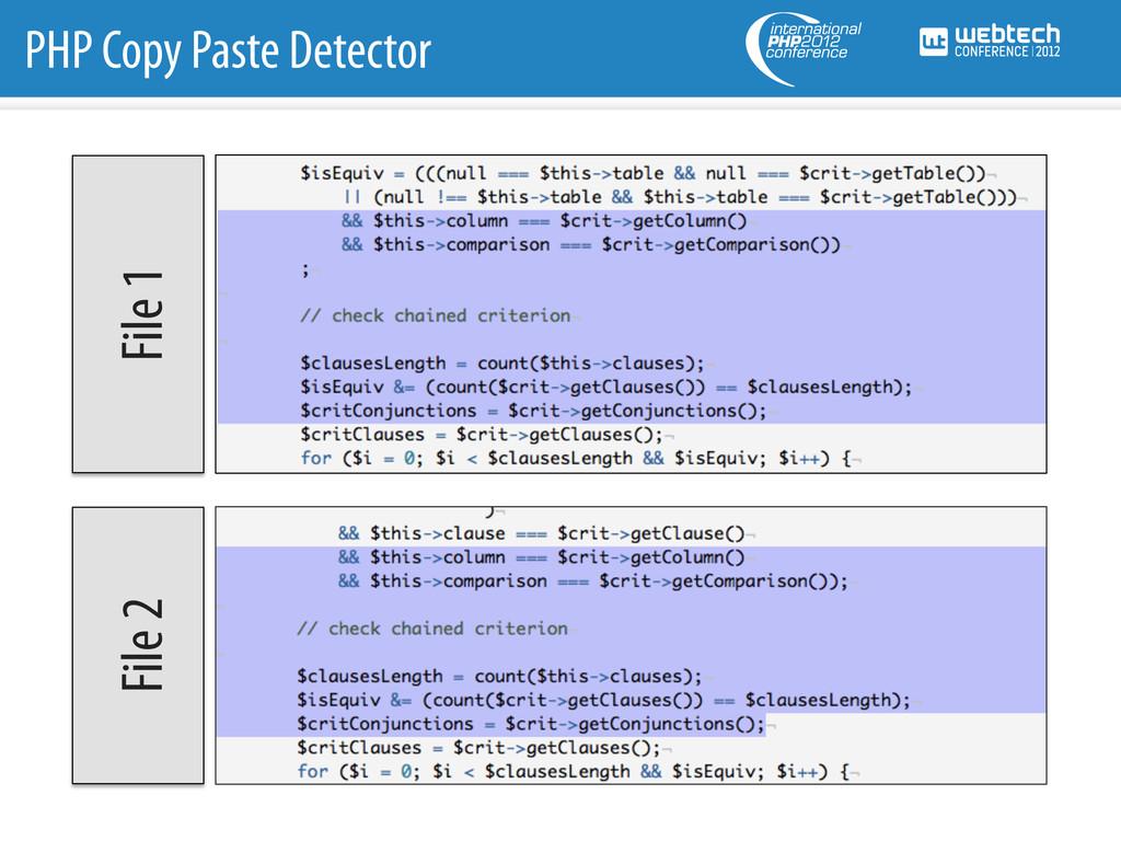 File 1 File 2 PHP Copy Paste Detector