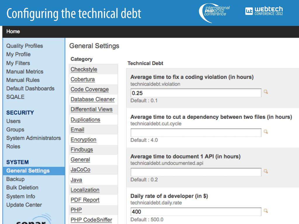 Con guring the technical debt