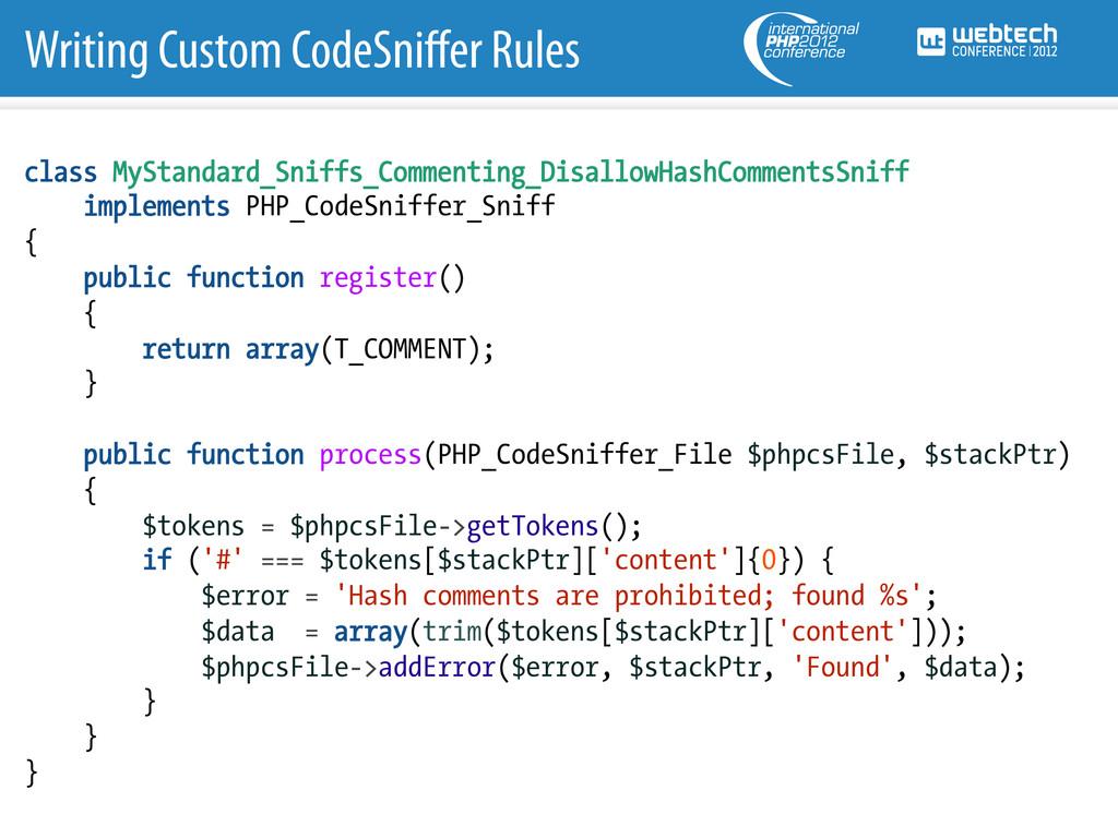 Writing Custom CodeSniffer Rules class MyStandar...