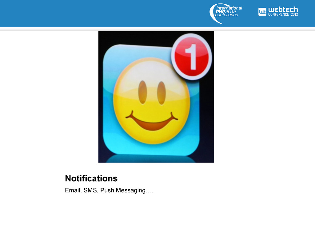 Notifications Email, SMS, Push Messaging….