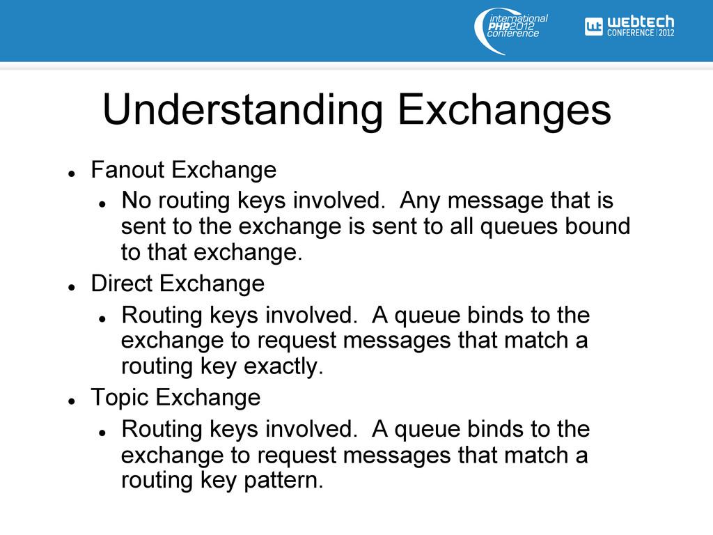l Fanout Exchange l No routing keys involve...