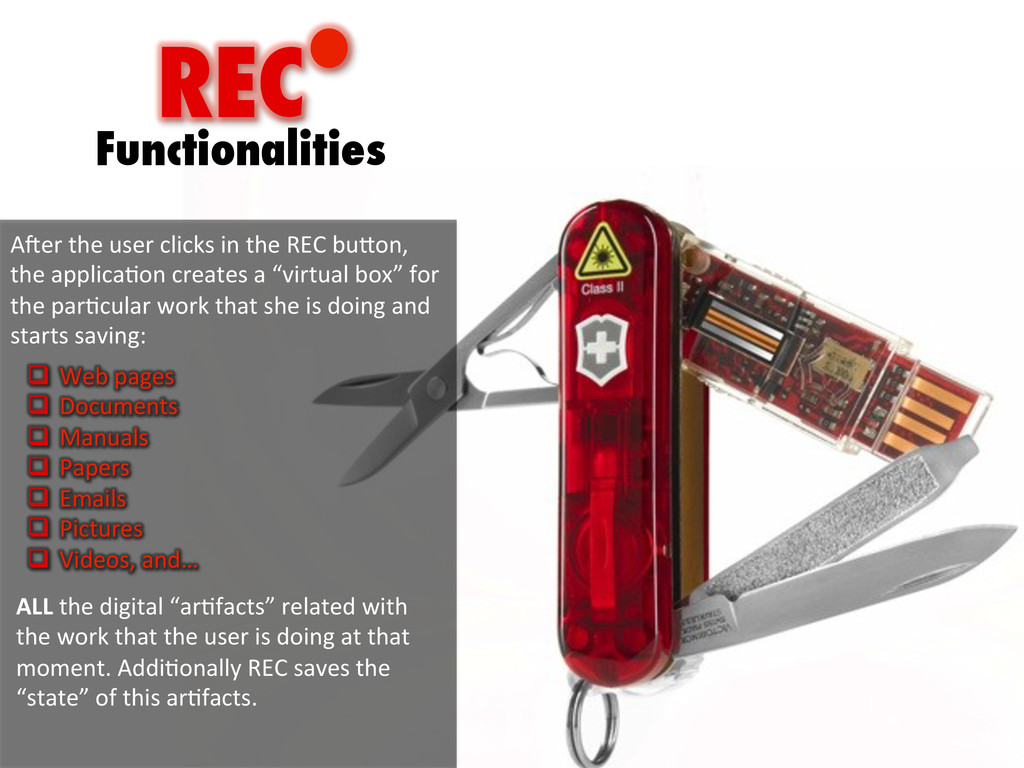 REC Functionalities A;er	