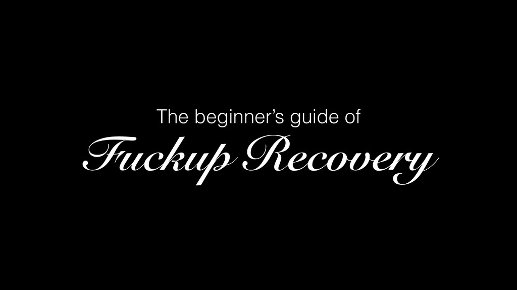The beginner's guide of Fuckup Recovery
