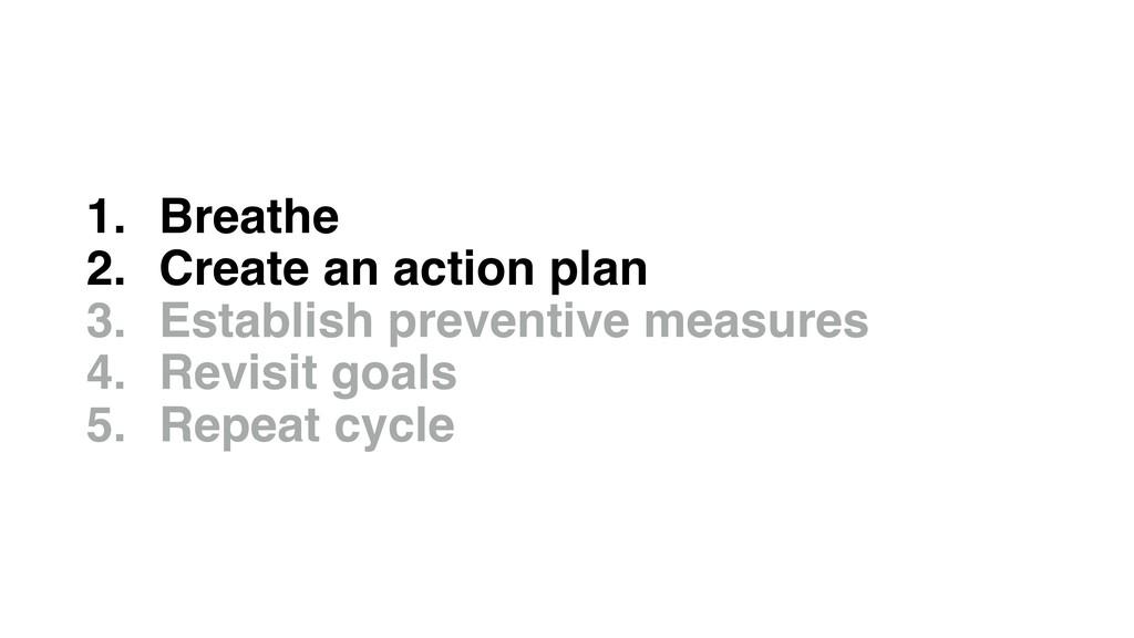 1. Breathe 2. Create an action plan 3. Establis...