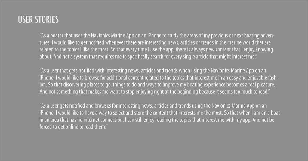 "USER STORIES ""As a boater that uses the Navioni..."