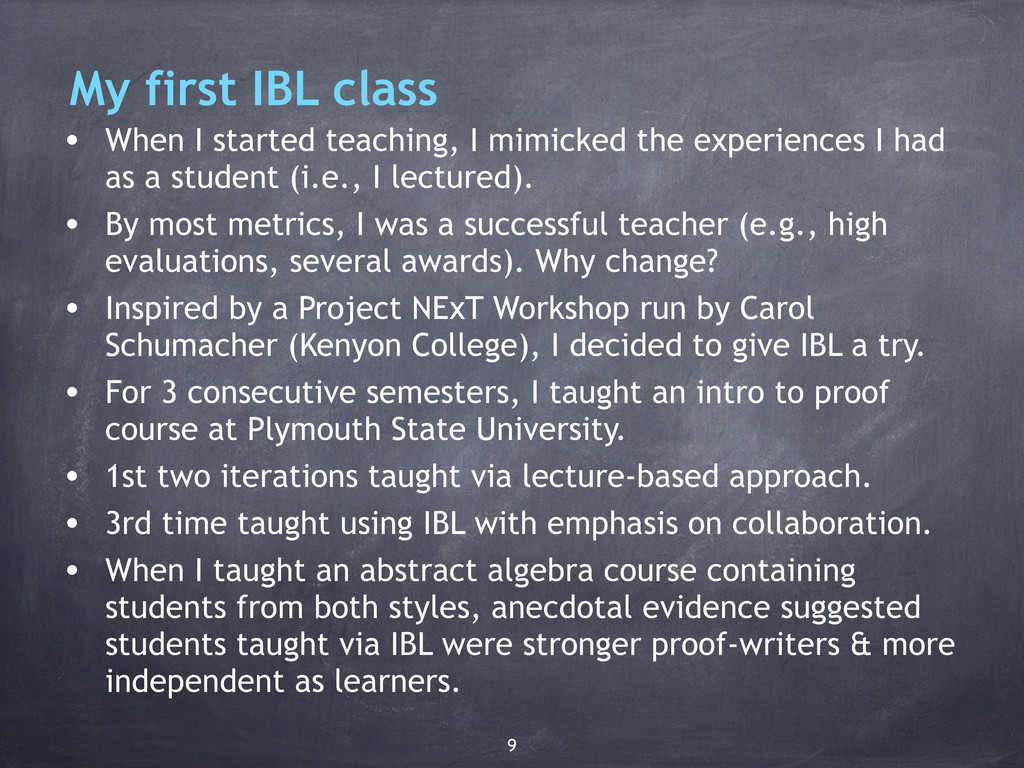 • When I started teaching, I mimicked the exper...