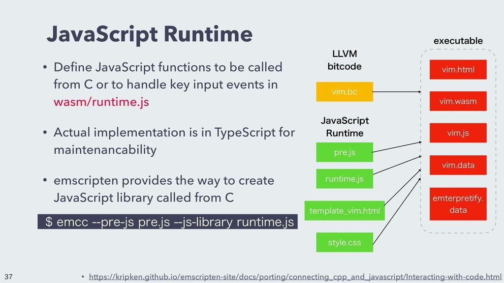 JavaScript Runtime • Define JavaScript functions...