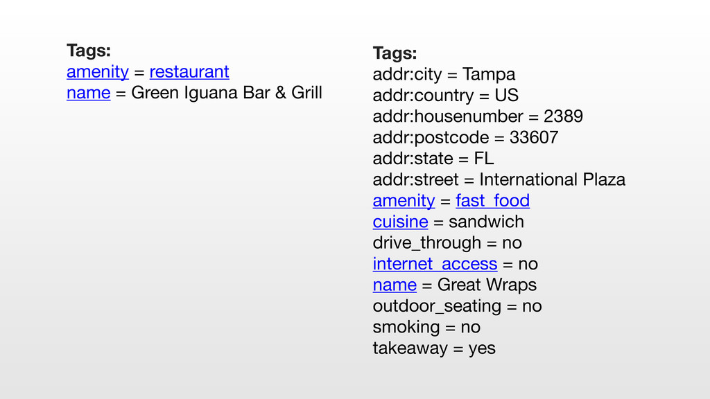 Tags: addr:city = Tampa addr:country = US addr:...