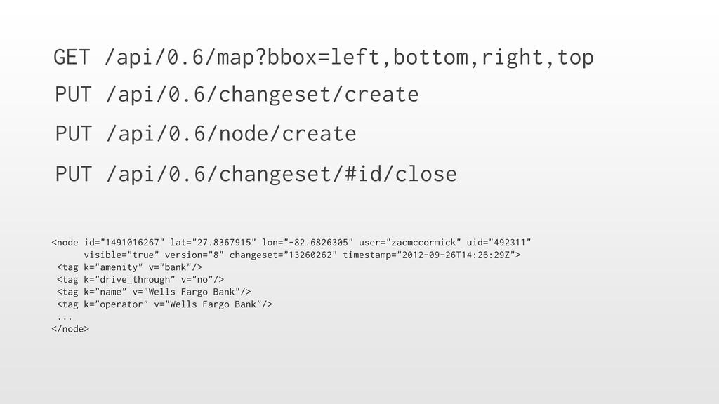GET /api/0.6/map?bbox=left,bottom,right,top PUT...