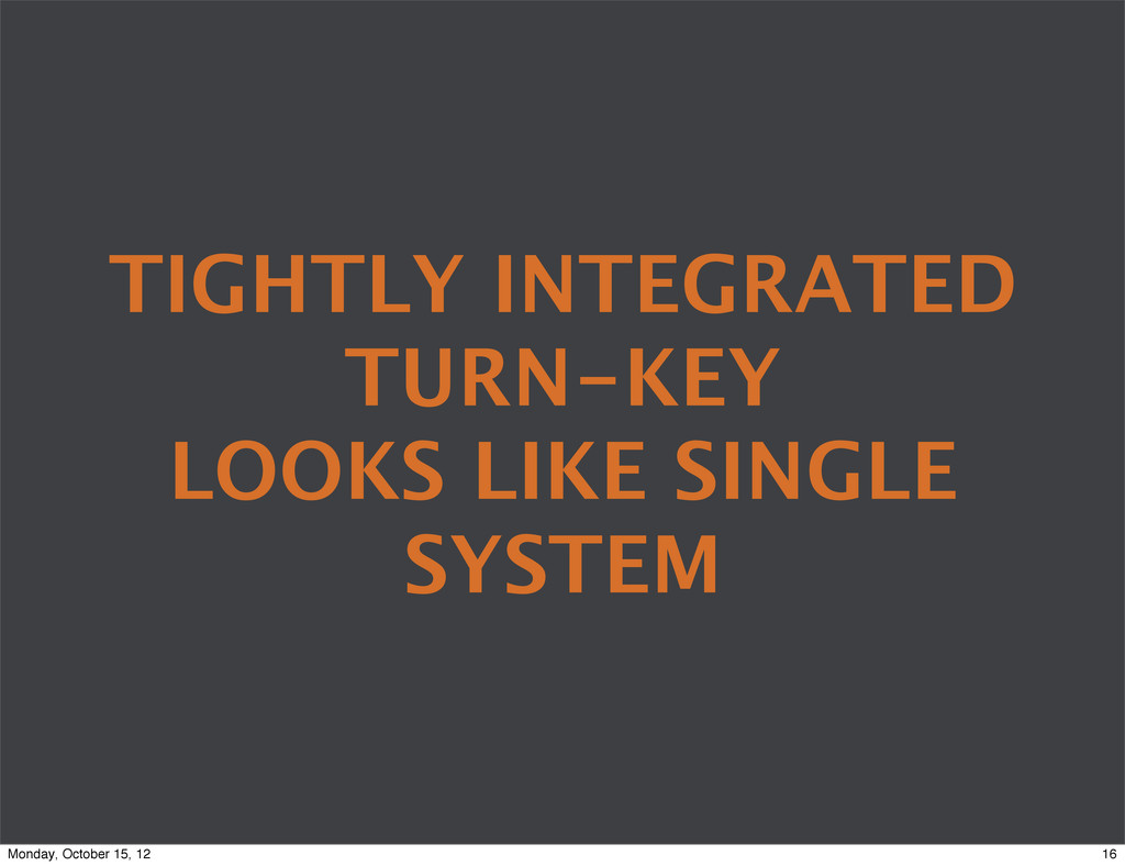 TIGHTLY INTEGRATED TURN-KEY LOOKS LIKE SINGLE S...