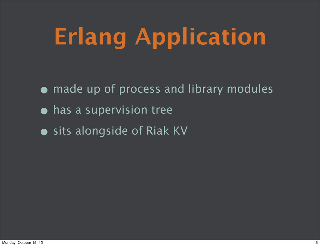 Erlang Application • made up of process and lib...