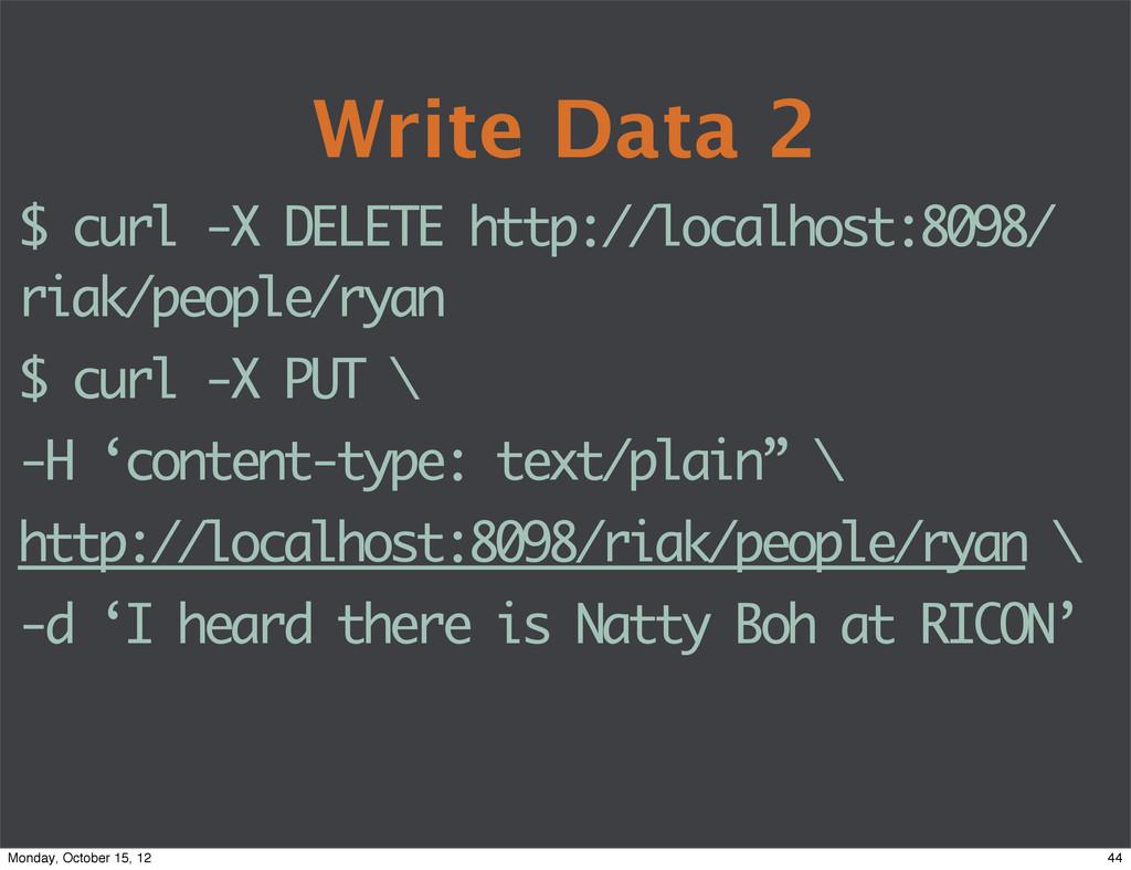 Write Data 2 $ curl -X DELETE http://localhost:...