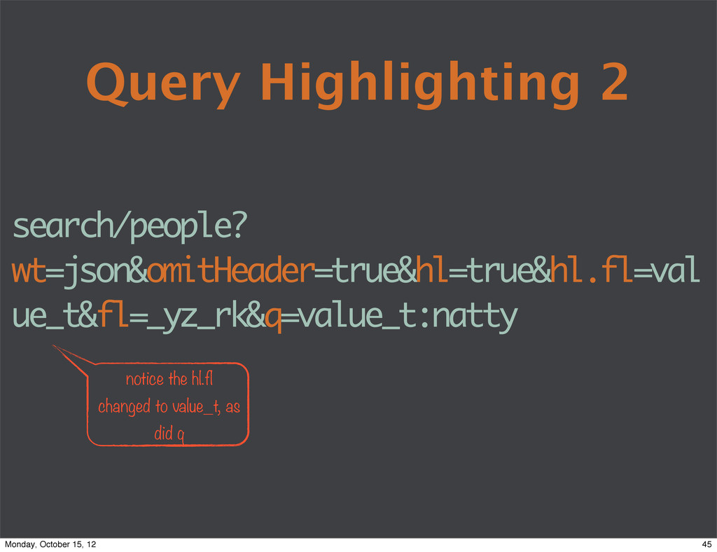 Query Highlighting 2 search/people? wt=json&omi...