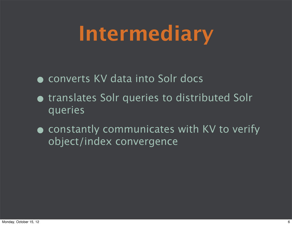 Intermediary • converts KV data into Solr docs ...