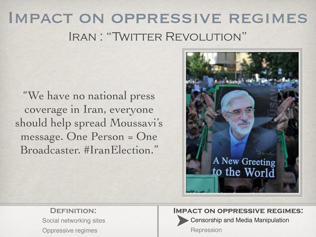"""We have no national press coverage in Iran, ev..."