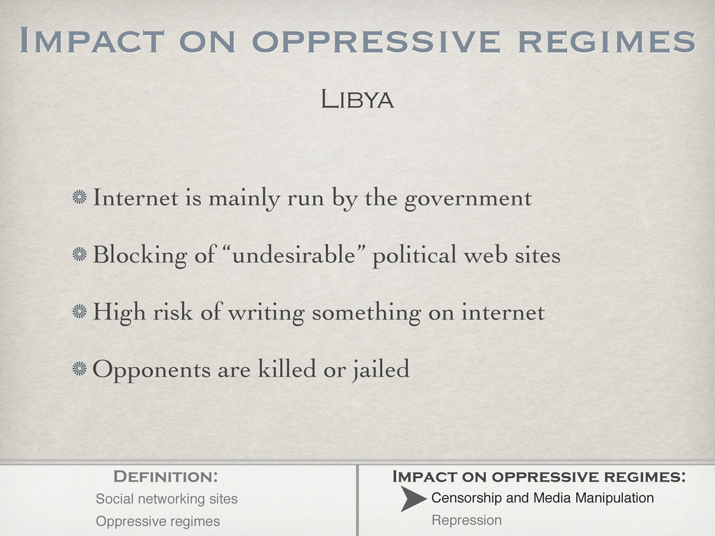 Libya Internet is mainly run by the government ...