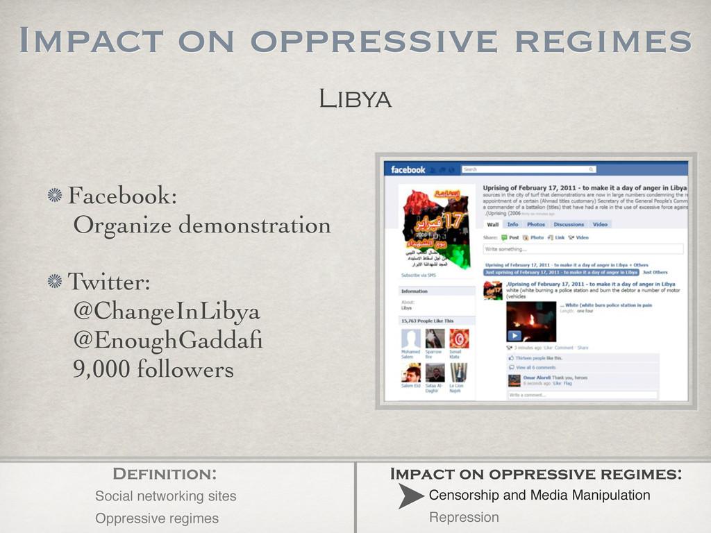 Libya Impact on oppressive regimes Facebook: Or...