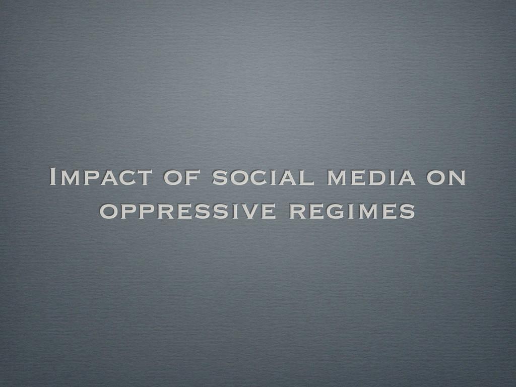 Impact of social media on oppressive regimes