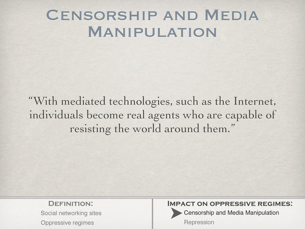 """""""With mediated technologies, such as the Intern..."""