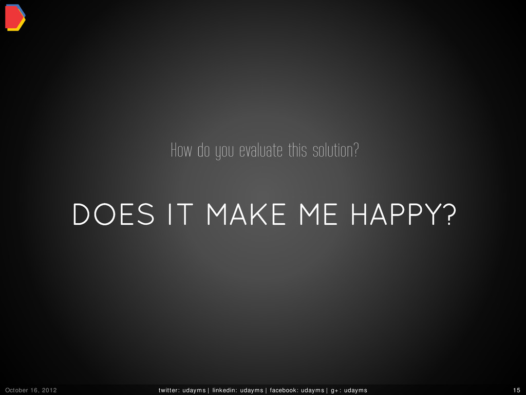 DOES IT MAKE ME HAPPY? How do you evaluate this...