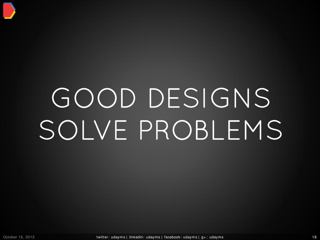 GOOD DESIGNS SOLVE PROBLEMS October 16, 2012 tw...