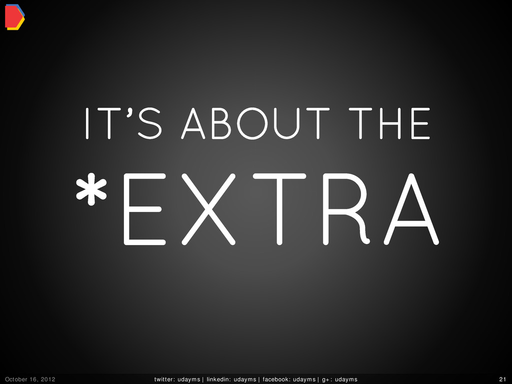 IT'S ABOUT THE *EXTRA October 16, 2012 twitter:...