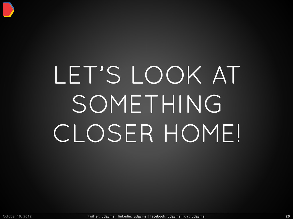 LET'S LOOK AT SOMETHING CLOSER HOME! October 16...