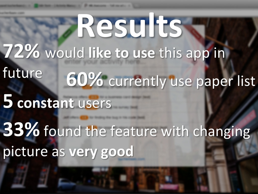 Results  72% would like to use...