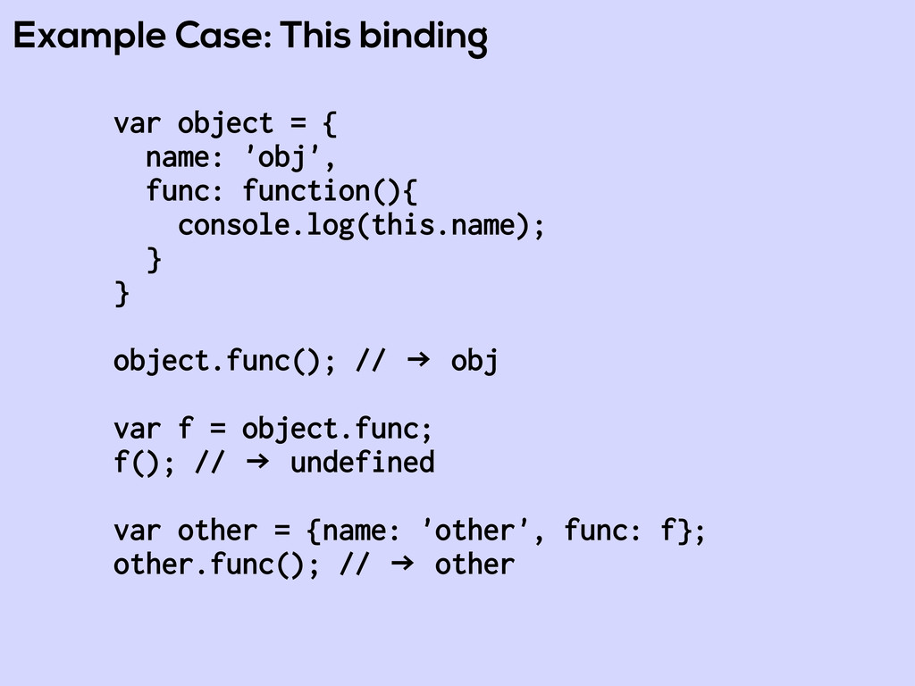 Example Case: This binding var object = { name:...