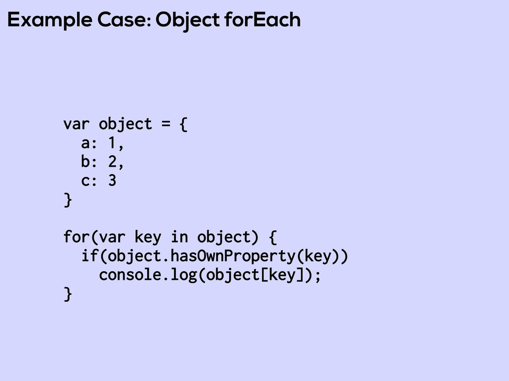 Example Case: Object forEach var object = { a: ...