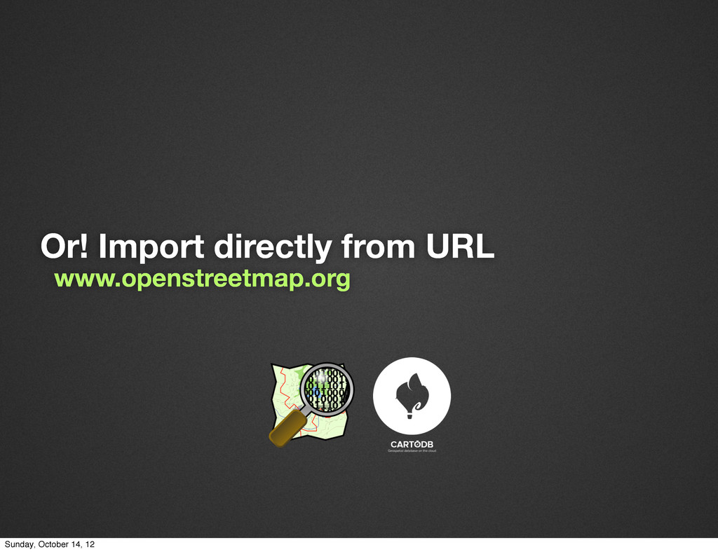Or! Import directly from URL www.openstreetmap....