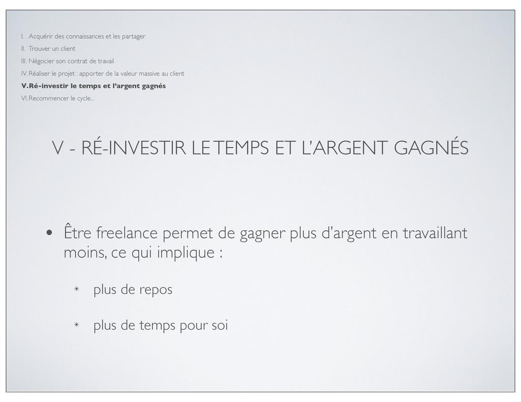 V - RÉ-INVESTIR LE TEMPS ET L'ARGENT GAGNÉS • Ê...