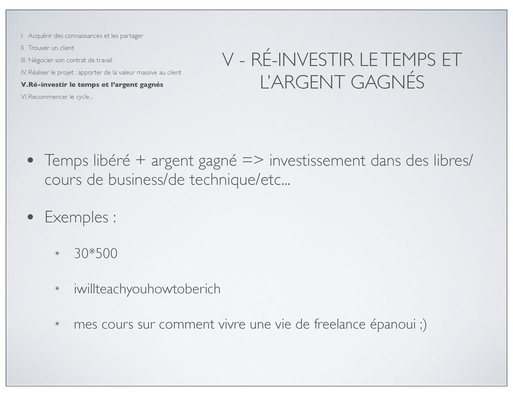 V - RÉ-INVESTIR LE TEMPS ET L'ARGENT GAGNÉS • T...