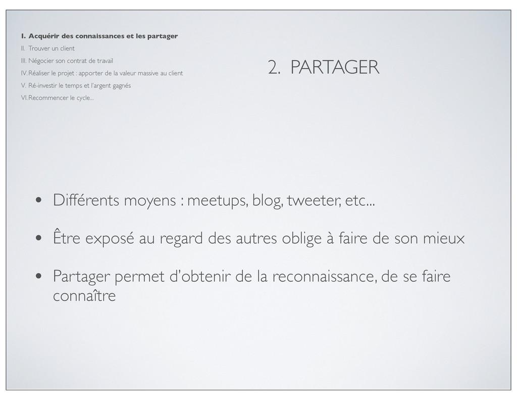 2. PARTAGER • Différents moyens : meetups, blog...