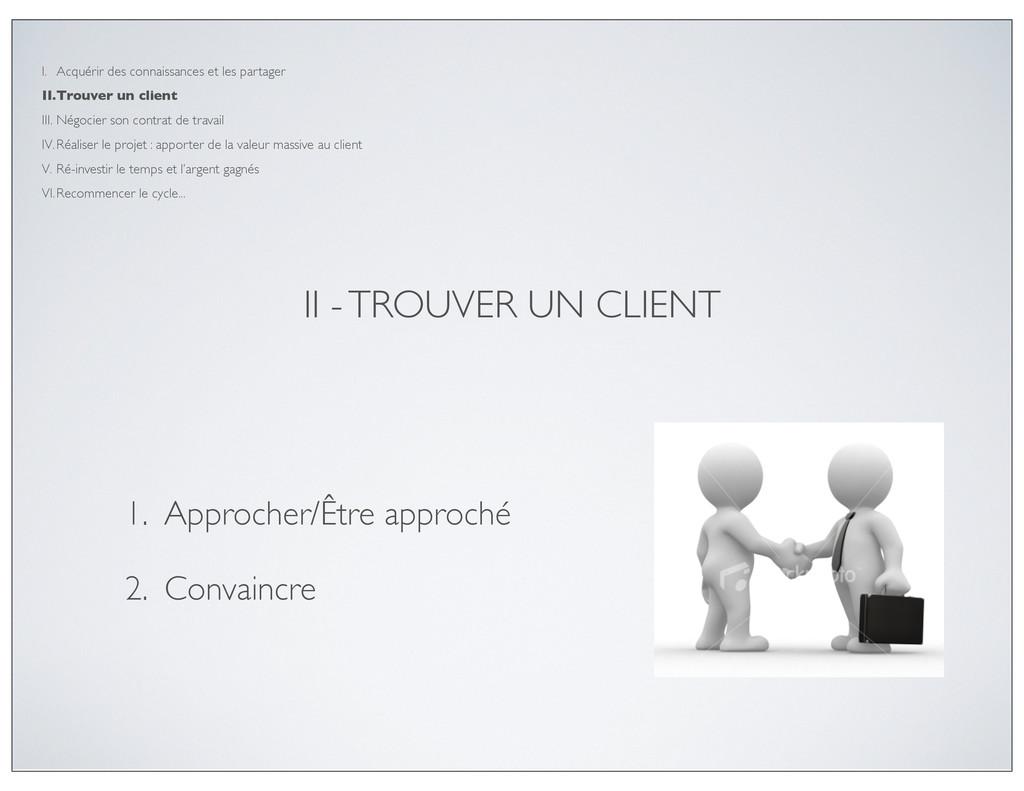 II - TROUVER UN CLIENT 1. Approcher/Être approc...