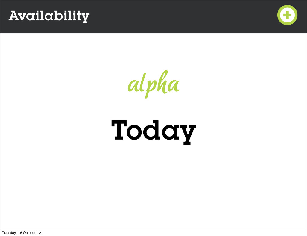 Availability Today alpha Tuesday, 16 October 12