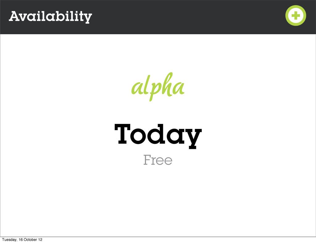 Availability Today Free alpha Tuesday, 16 Octob...