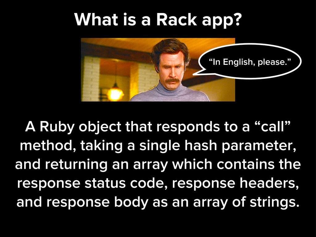 What is a Rack app? A Ruby object that responds...