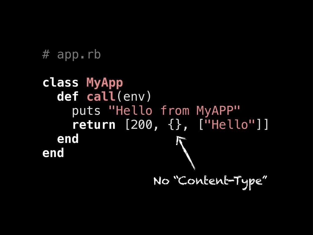 """# app.rb class MyApp def call(env) puts """"Hello ..."""