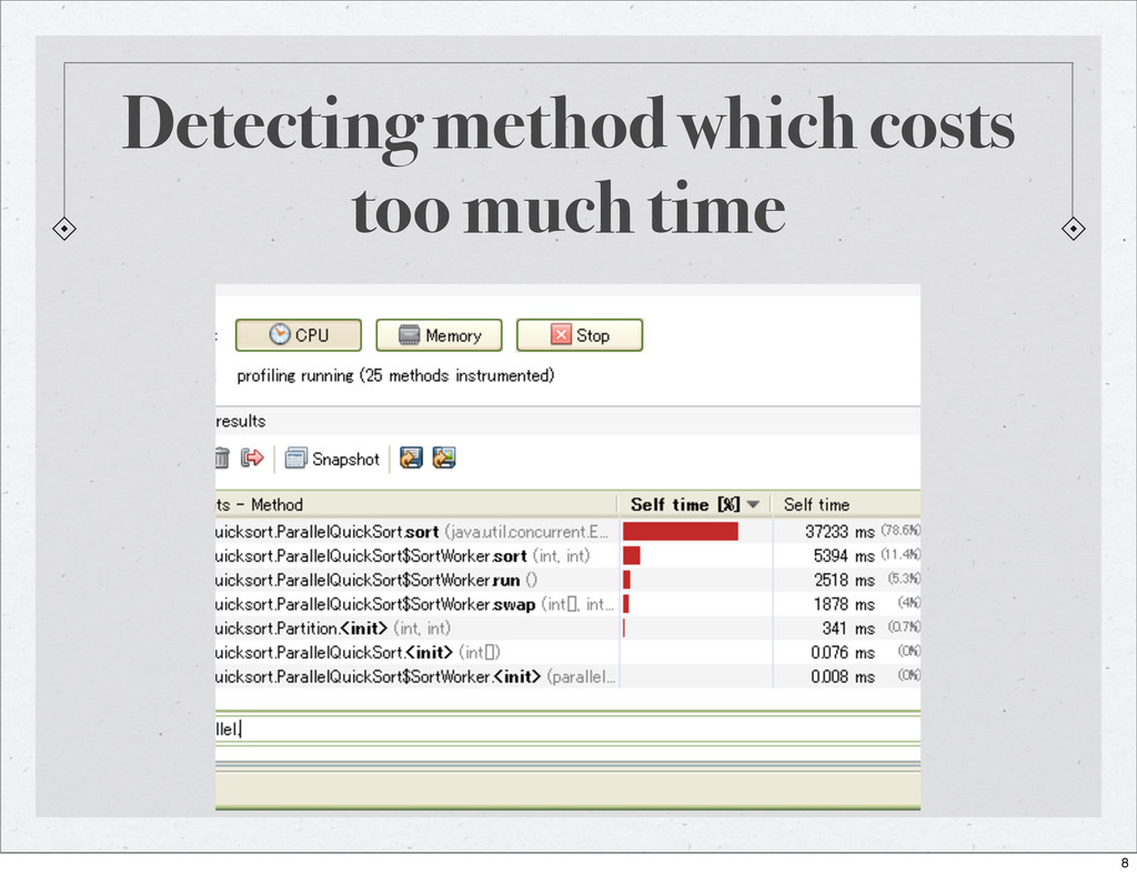 Detecting method which costs too much time 8